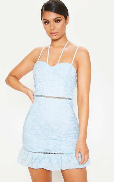 b43b10bed76e Baby Blue Strappy Lace Tie Front Bodycon Dress