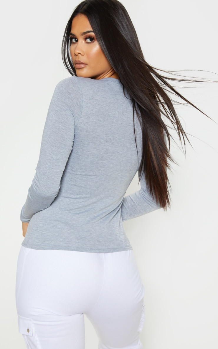 Basic Black & Grey 2 Pack Long Sleeve Fitted T Shirt 2