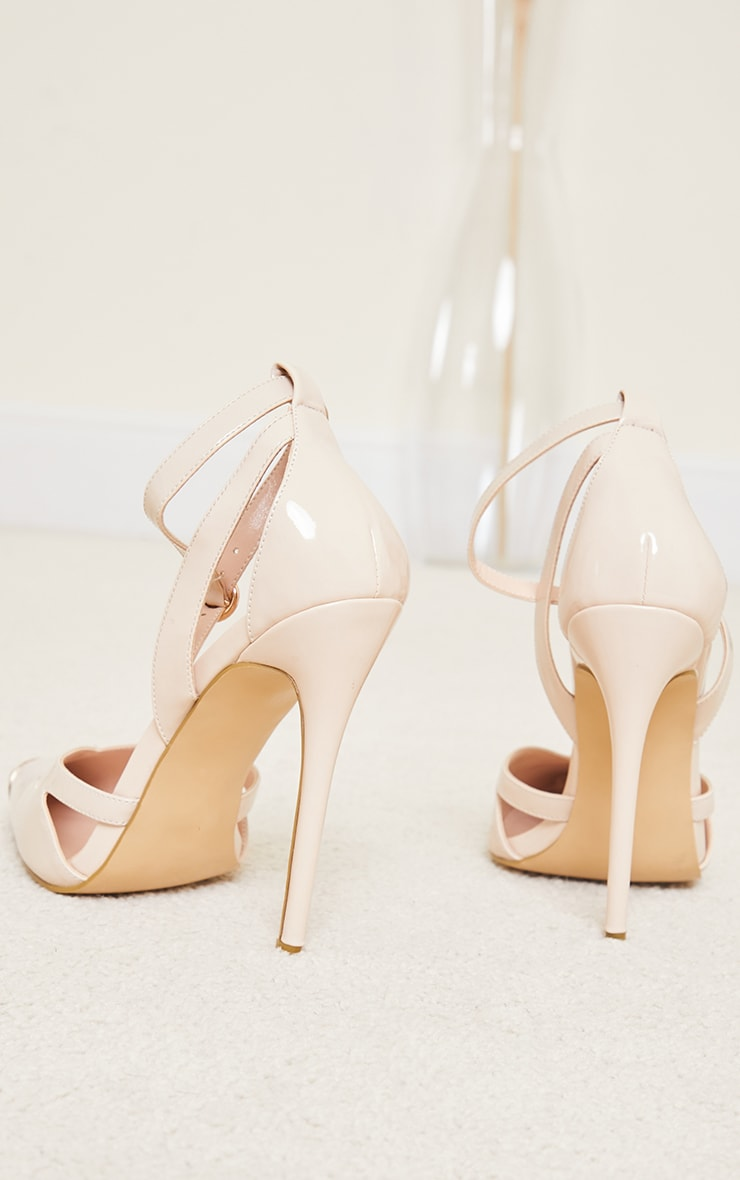 Nude Patent PU Cut Out Heel Metal Toe Court Shoe 4
