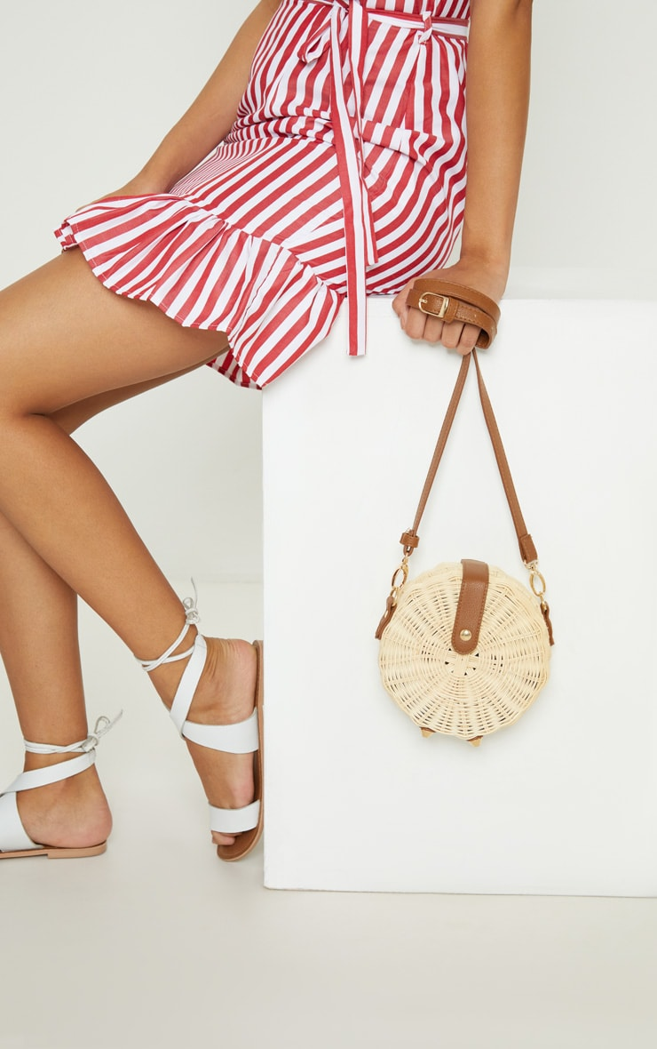Cream Medium Wicker Cross Body Bag 2