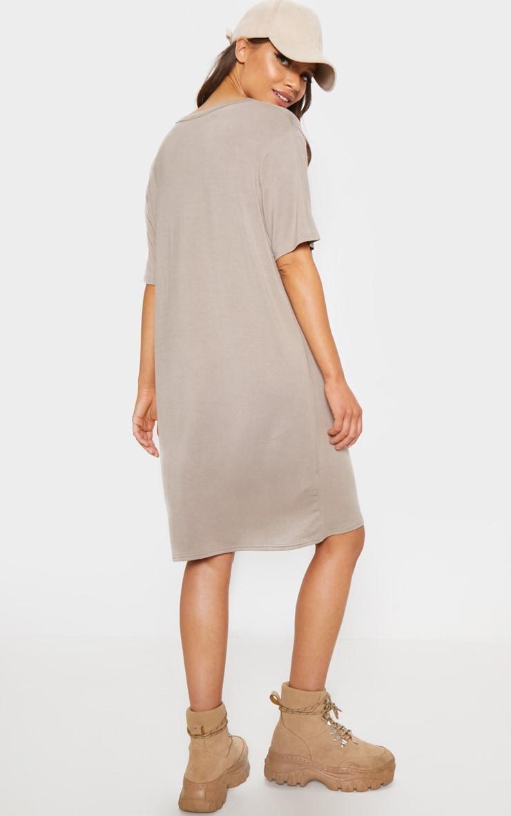 Taupe Basic Short Sleeve T Shirt Dress 2