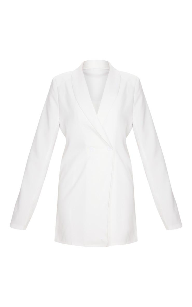 White Shoulder Pad Double Button Blazer 3