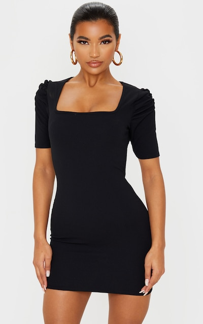 Black Puff Shoulder Square Neck Bodycon Dress