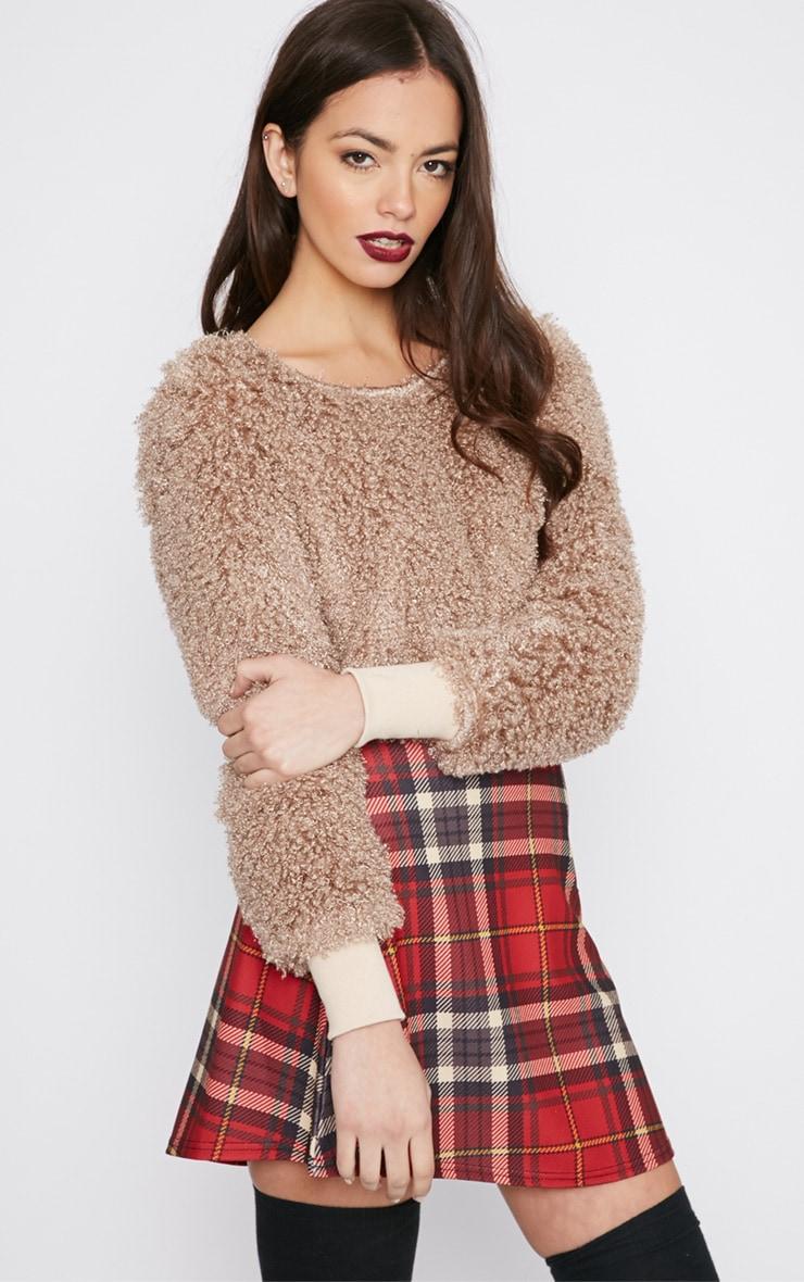 Monia Mocha Faux Fur Cropped Jumper  4