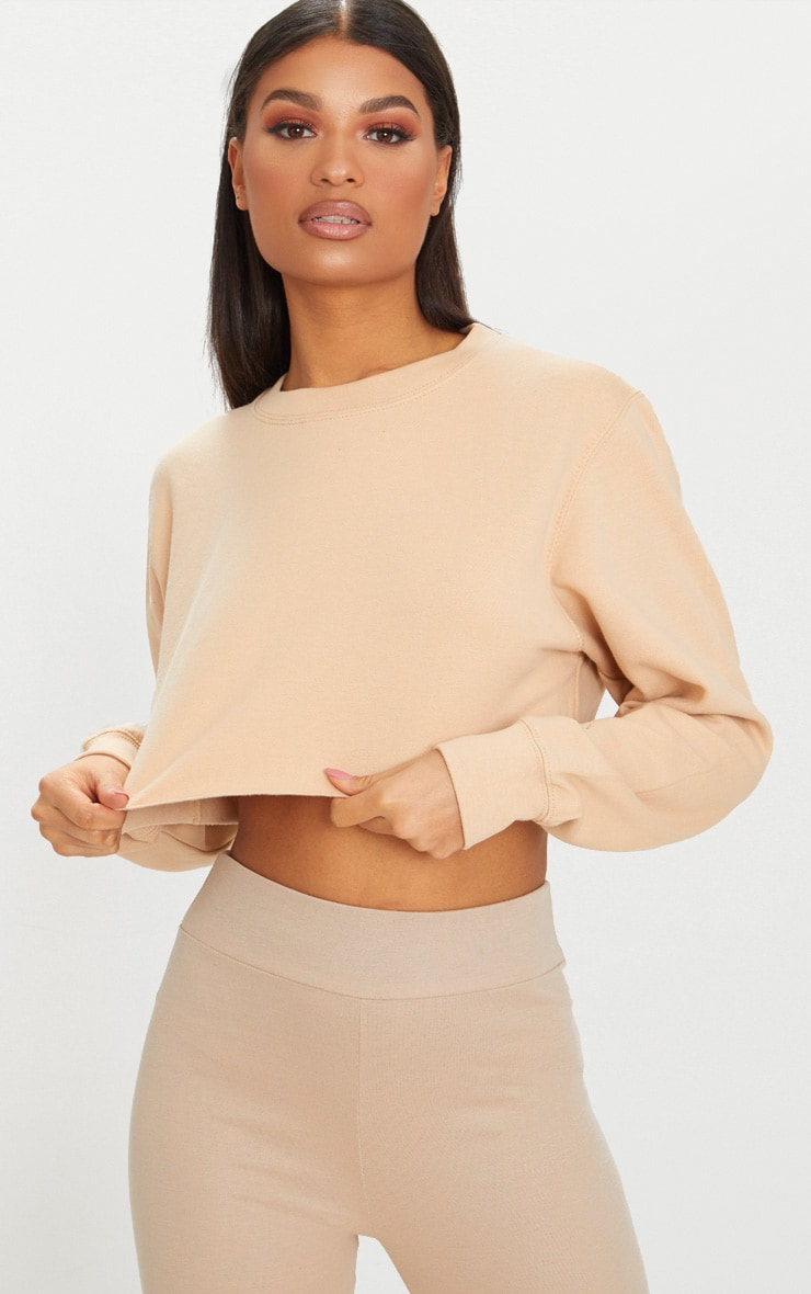 Beige Ultimate Cropped Sweater 3