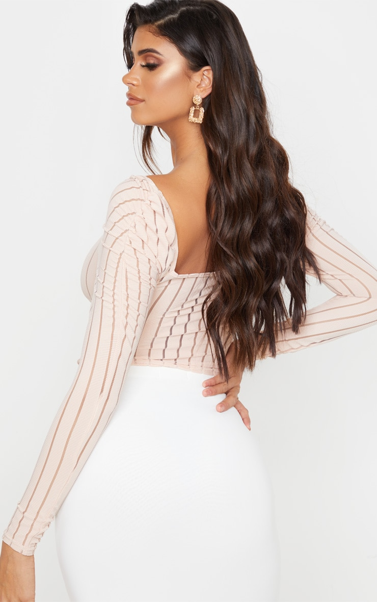 Nude Sheer Rib Ruched Shoulder Crop Top 2