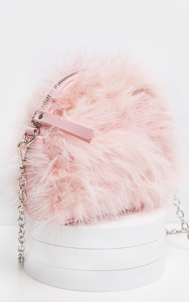 Pink Marabou Feather Large Clutch Bag 3