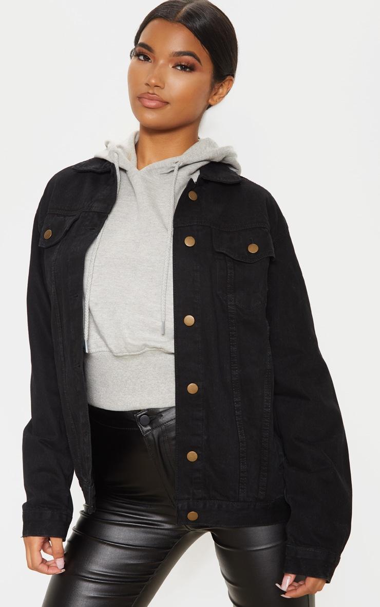 Black Oversized Boyfriend Denim Jacket 1