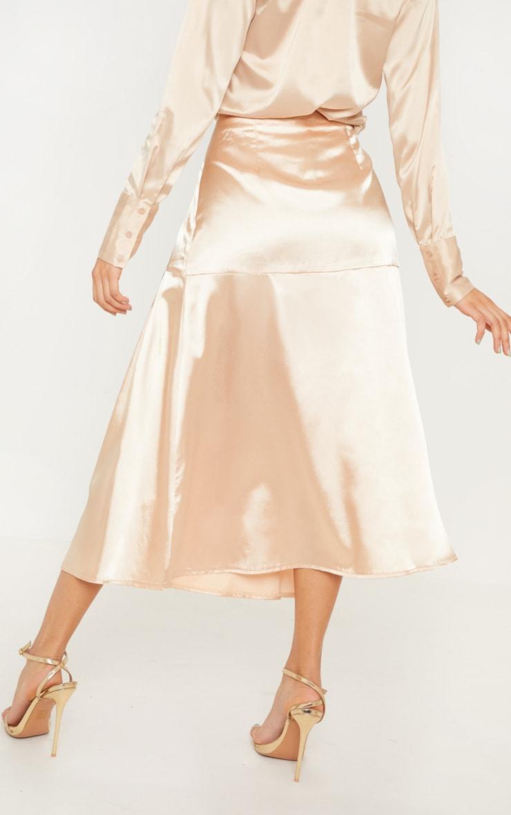 Champagne Satin Button Waist Midi Skirt 4