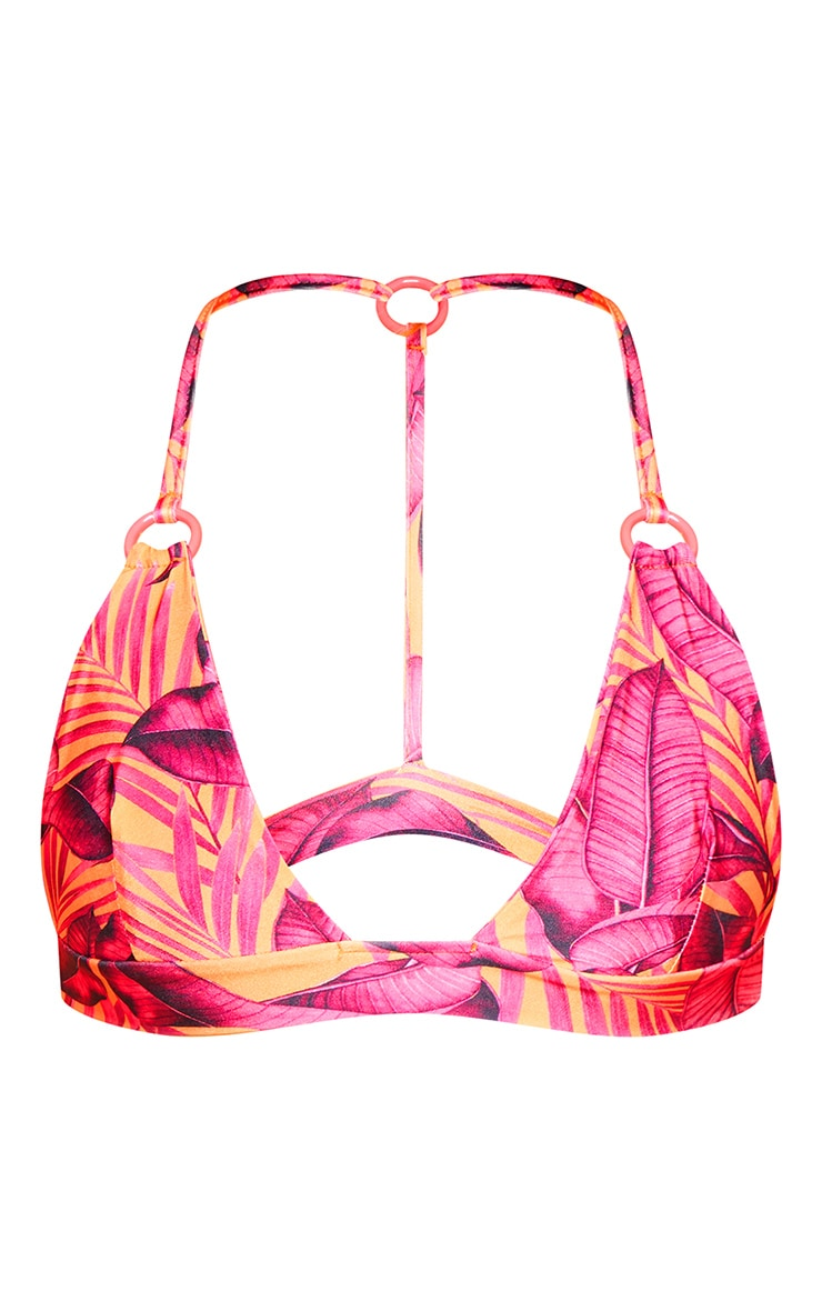 Orange Palm Leaf Triangle Bikini Top 6