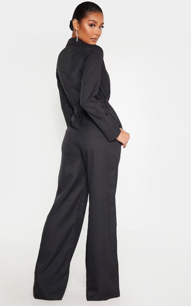 Black Belt Detail Wide Leg Jumpsuit 2