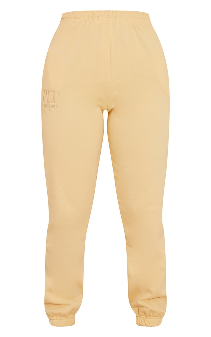 PRETTYLITTLETHING Pale Yellow Established Slogan Casual Joggers 5