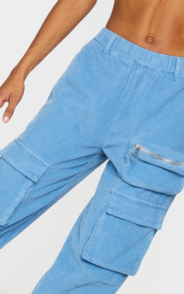 Blue Velour Cord Cargo Pants 4
