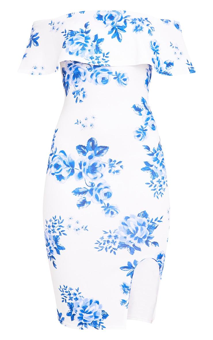Yazmine White Frill Bardot  Midi Dress 3