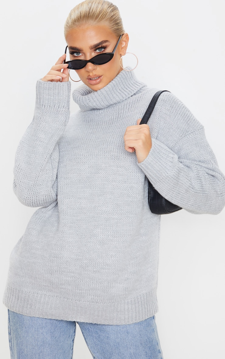 Grey High Neck Fluffy Knit Sweater  1