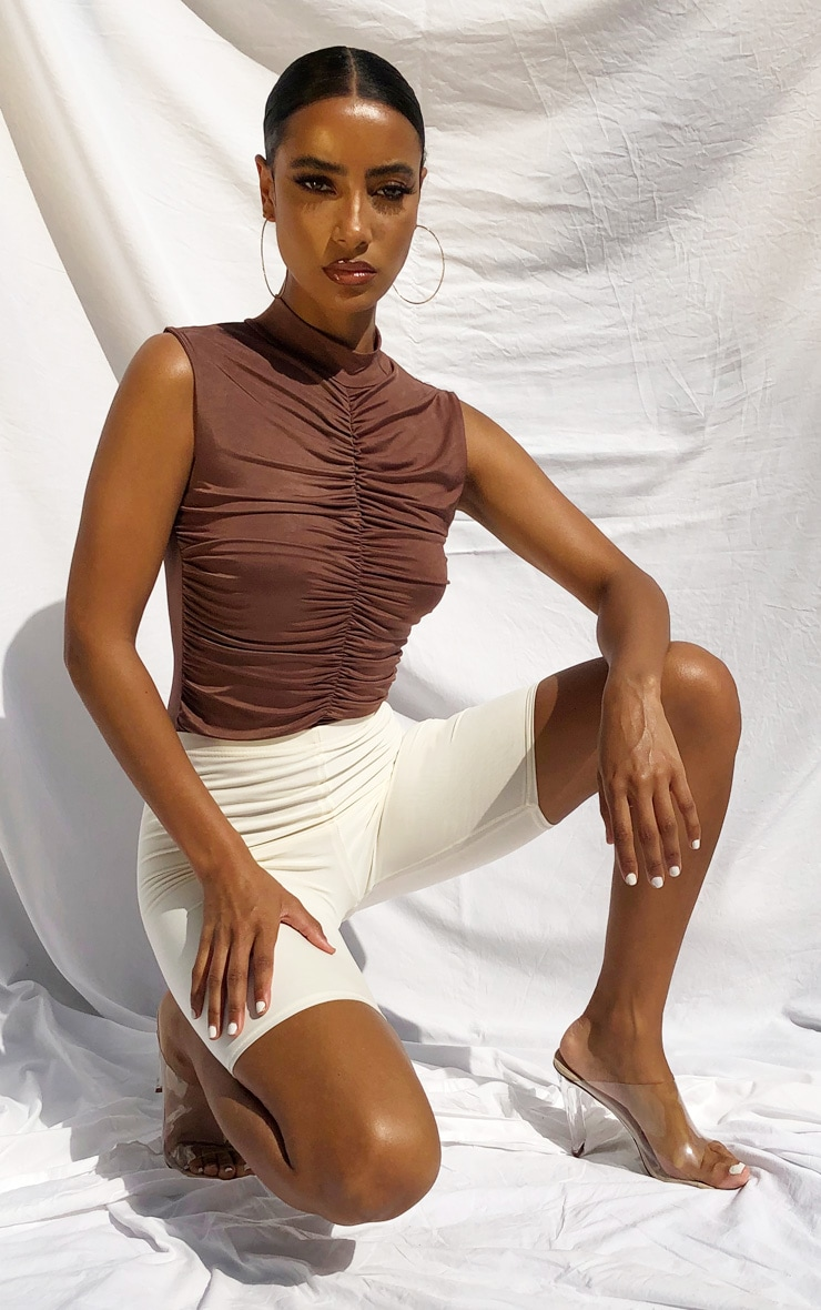 Chocolate Slinky Extreme Ruched High Neck Bodysuit 3