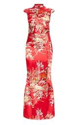 Red Oriental Print High Neck Extreme Split Maxi Dress 3