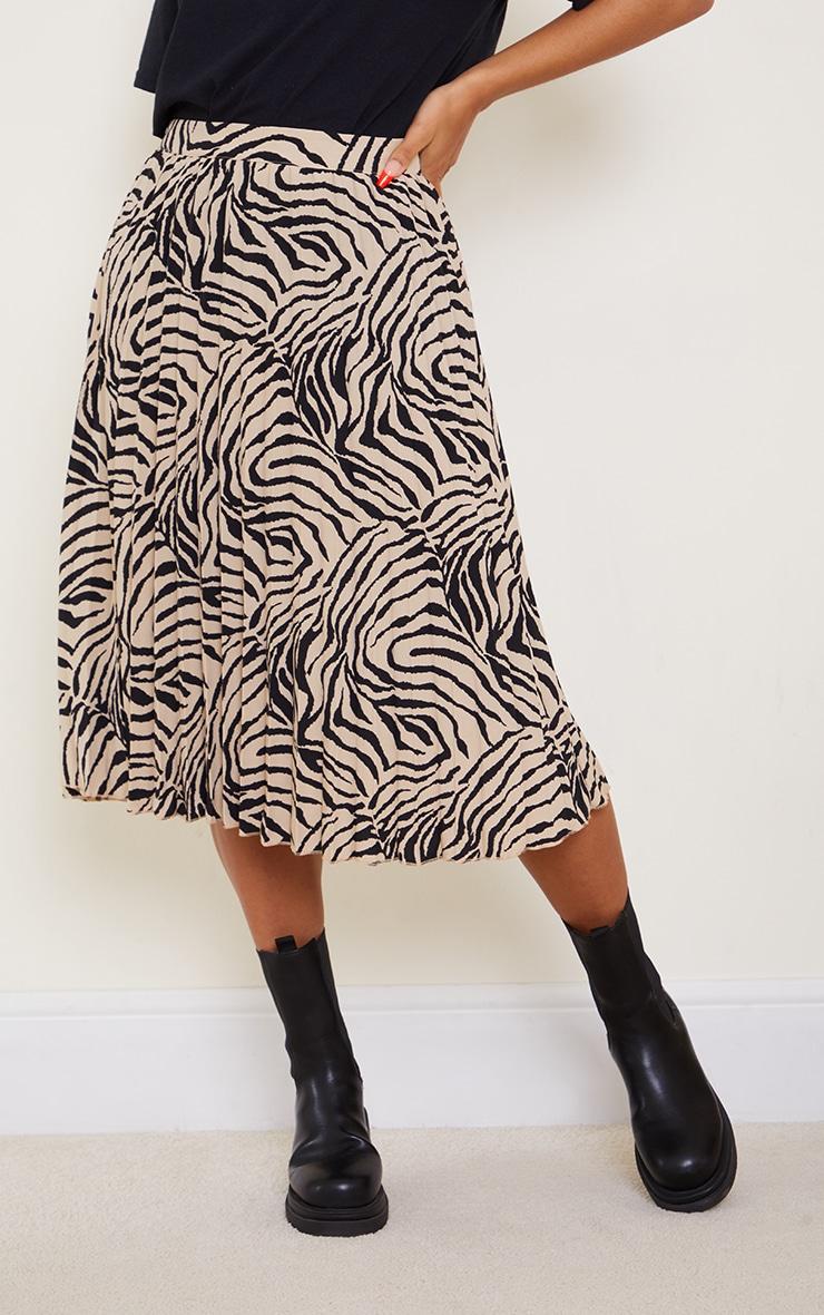Stone Zebra Print Pleated Midi Skirt 2