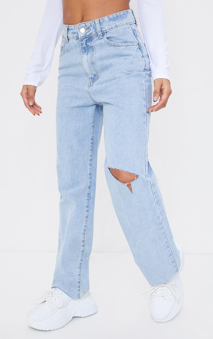 Light Blue Wash Knee Rip Wide Leg Jean 2
