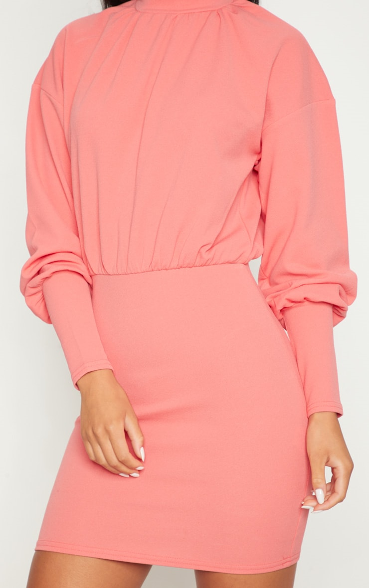 Coral High Neck Balloon Sleeve Bodycon Dress 5