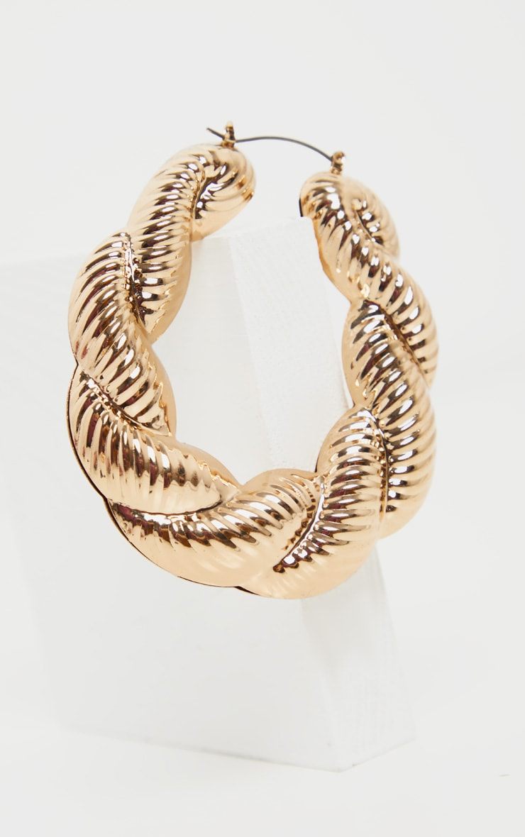 Gold Creole Large Hoop Earrings 3