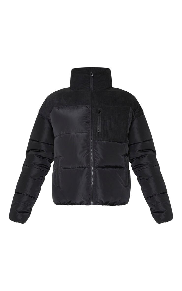 Black Cord Contrast Pocket Puffer 5