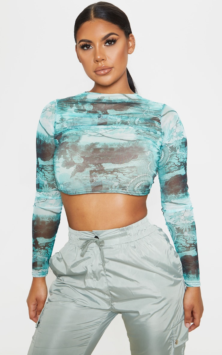 Emerald Chinese Dragon Printed Mesh Ruched Front Crop Top 4
