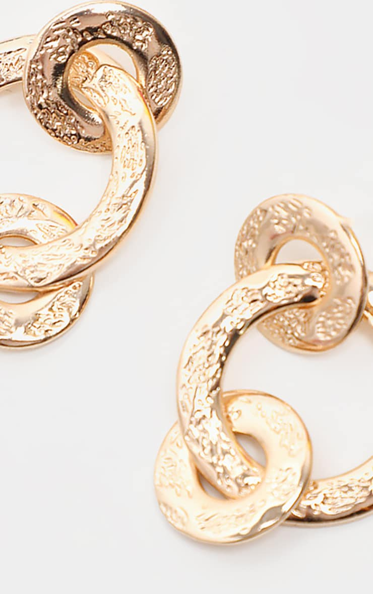 Gold Hammered Triple Ring Drop Earrings 2