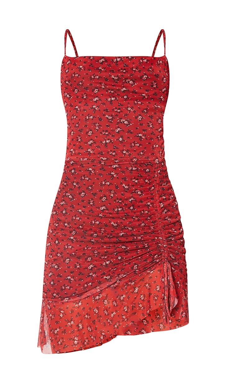 Red Ditsy Floral Print Mesh Ruched Bodycon Dress 5
