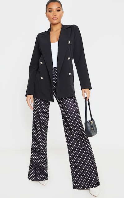 Polkadot Crepe Pleat Front Wide Leg Trouser