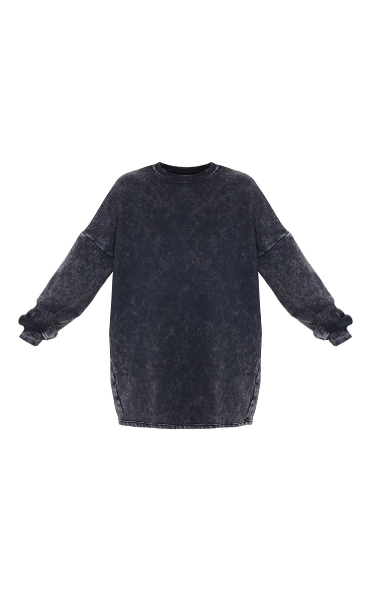 Black Acid Wash Oversized Sweater Dress 5