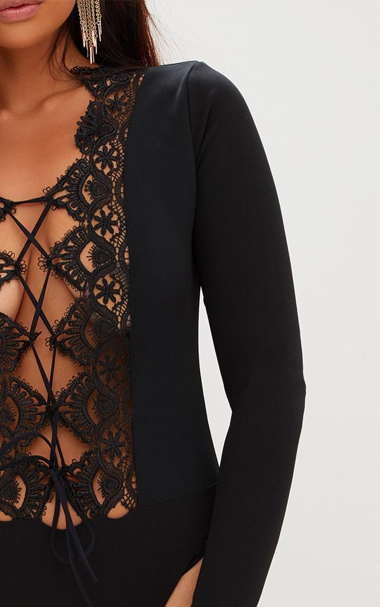 Black Lace Up Longsleeve Thong Bodysuit 6