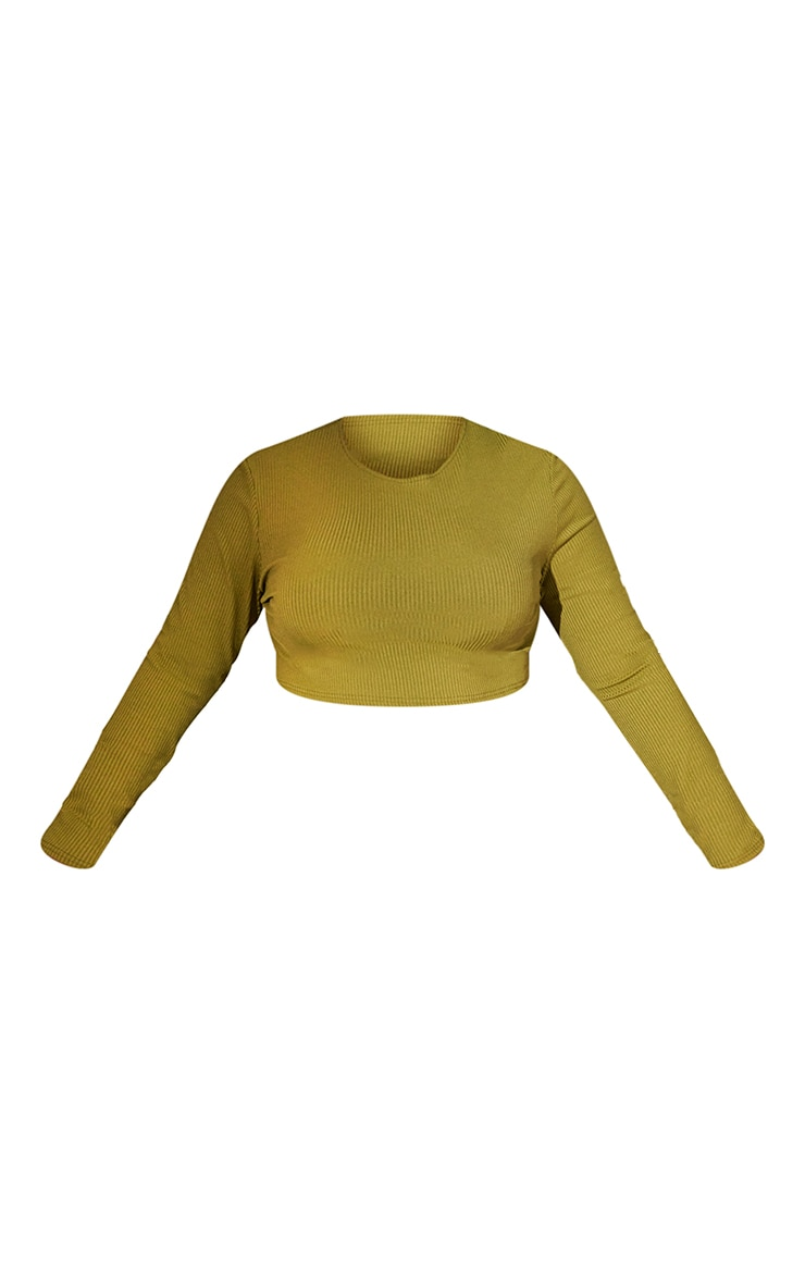 RENEW Plus Olive Rib Long Sleeve Crop Top 5