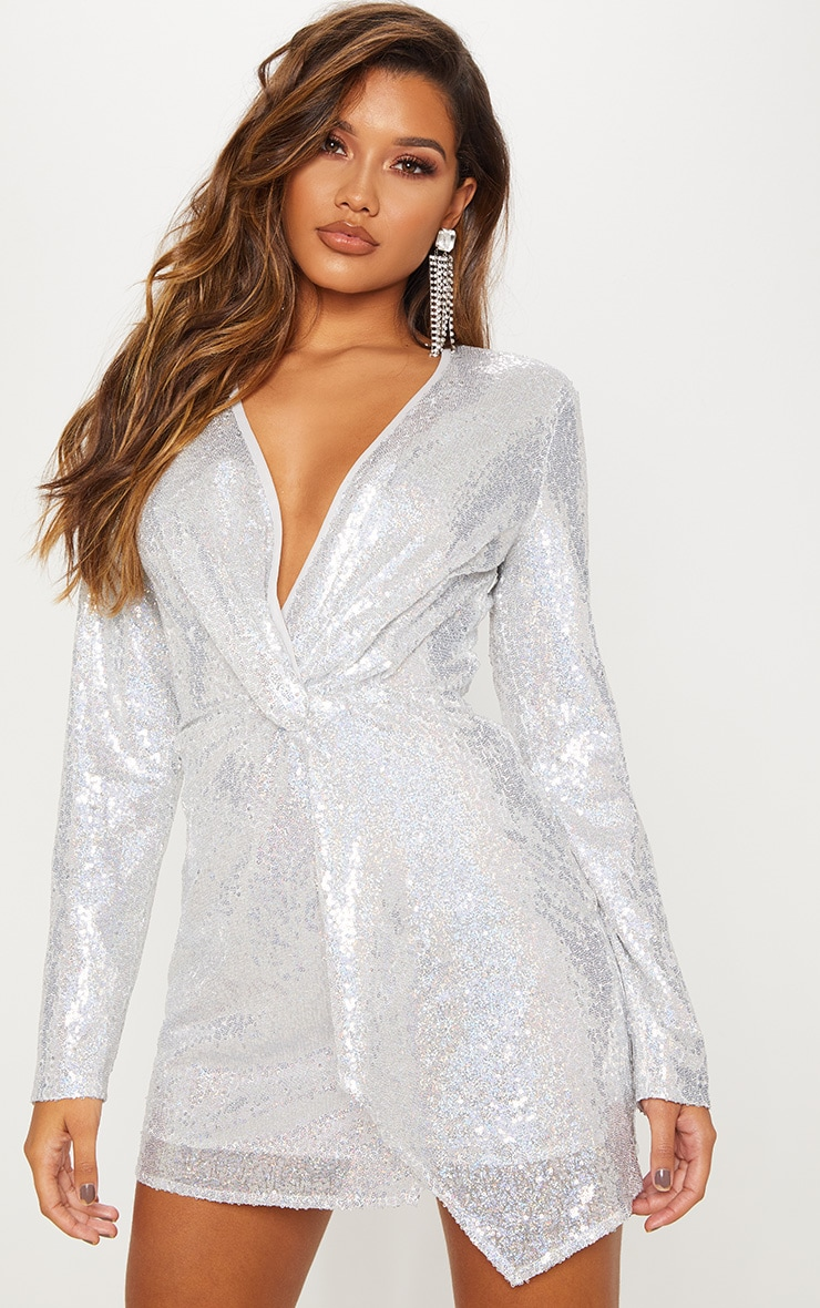 Silver Sequin Twist Front Bodycon Dress 2