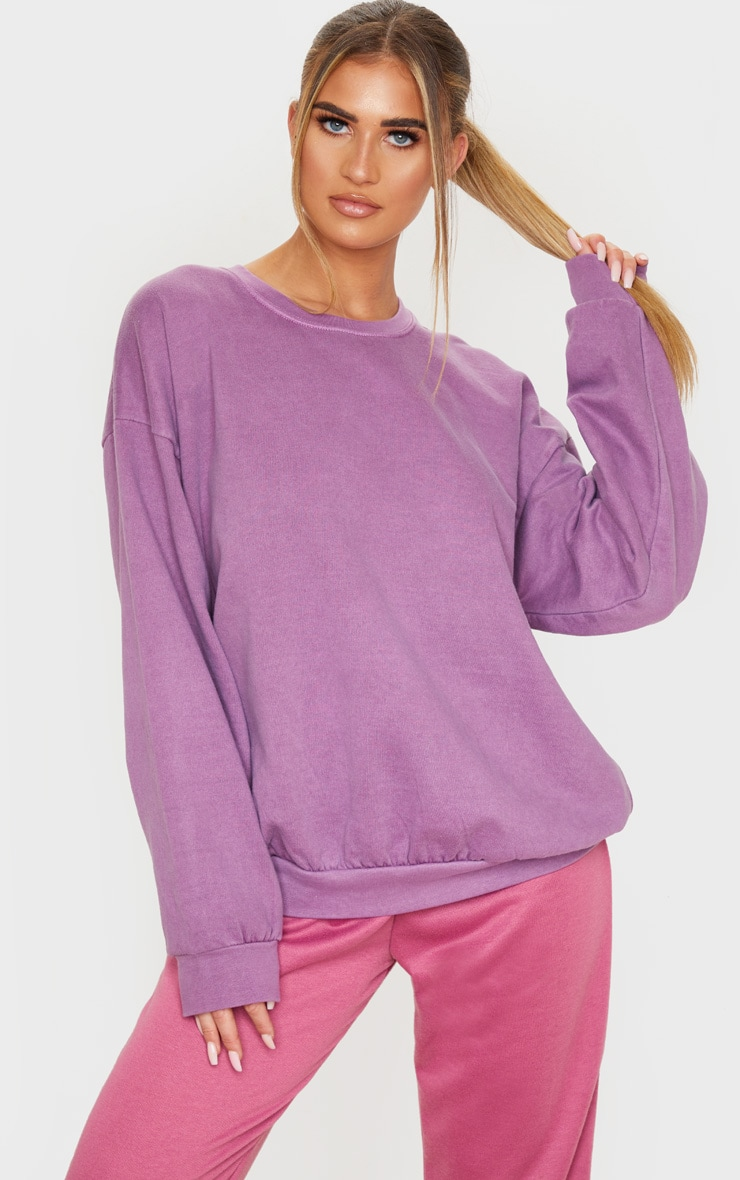 Violet Washed Oversized Sweater 1