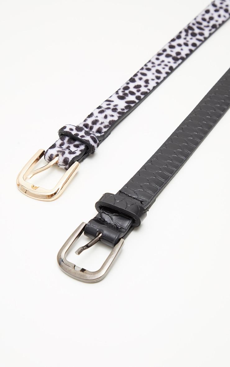 2 Pack Dalmatian And Black Croc PU Belts 3