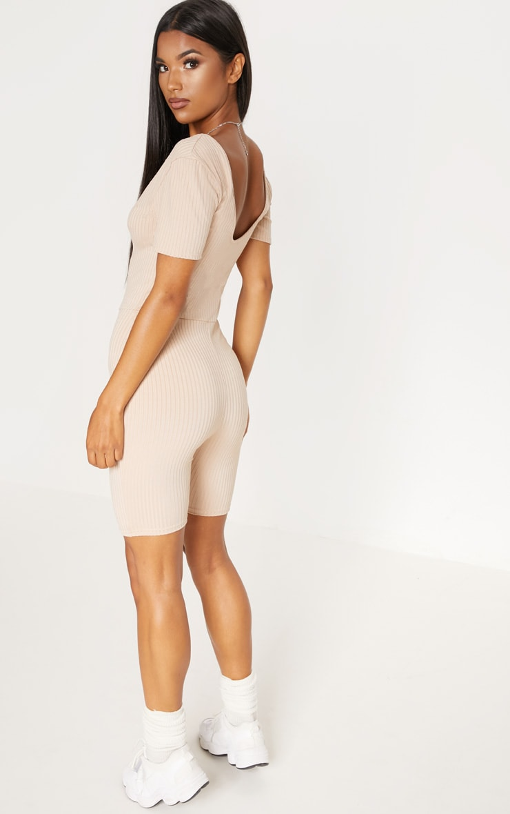Sand Ribbed Short Sleeve Raw Edge Unitard 2