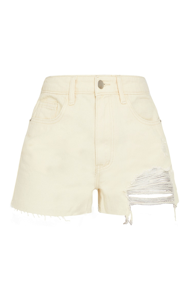 Tall Ecru Ripped Denim Mom Shorts 6