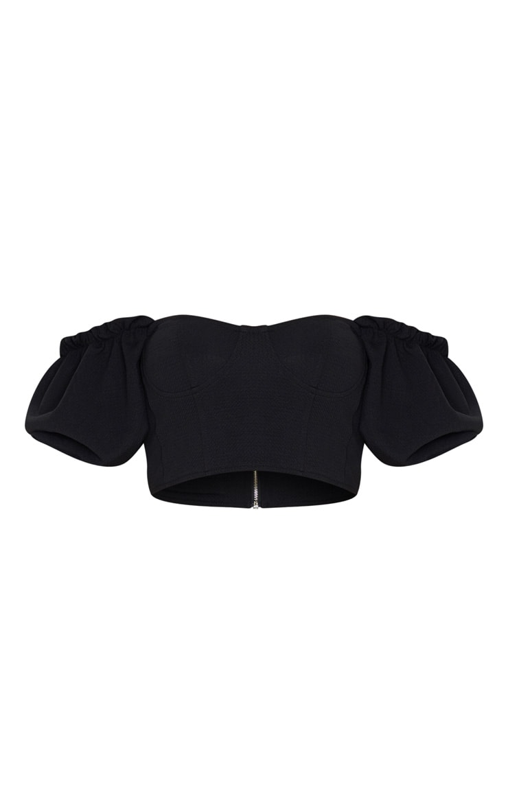 Black Textured Crepe Bardot Puff Sleeve Crop Top 3