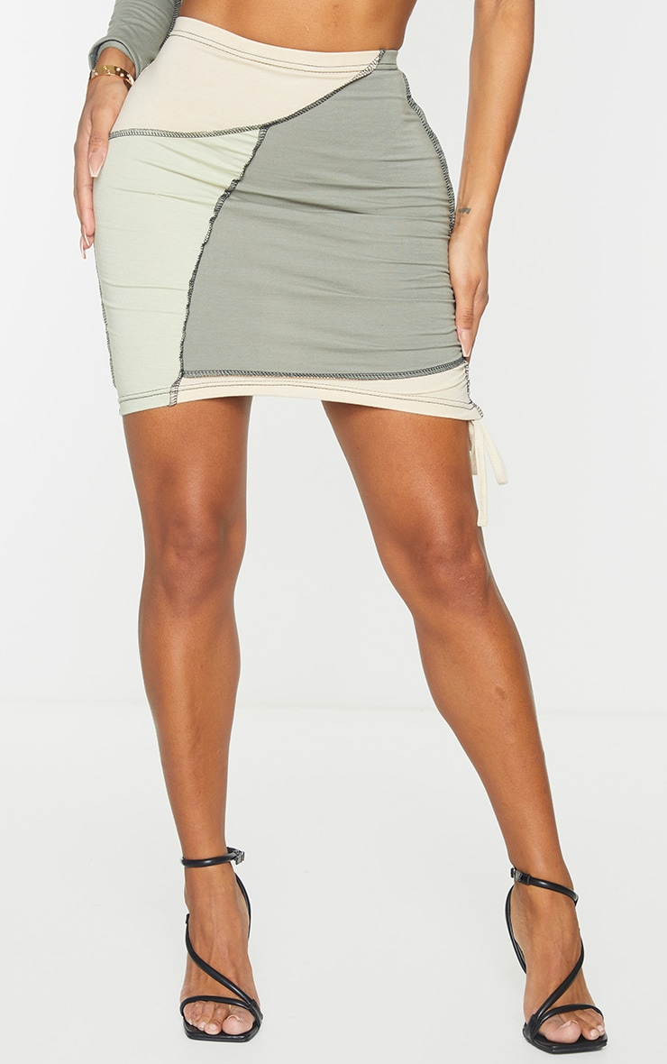 Shape Sage Green Cotton Panel Detail Ruched Side Bodycon Skirt 2