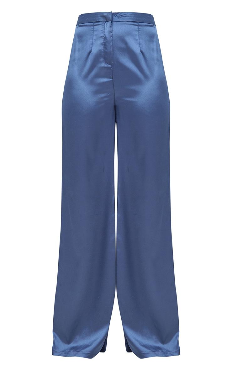Blue Satin Wide Leg Trousers 3