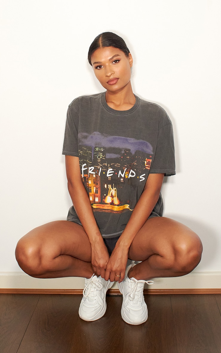 Charcoal Grey Friends Photographic Printed Washed T Shirt 3