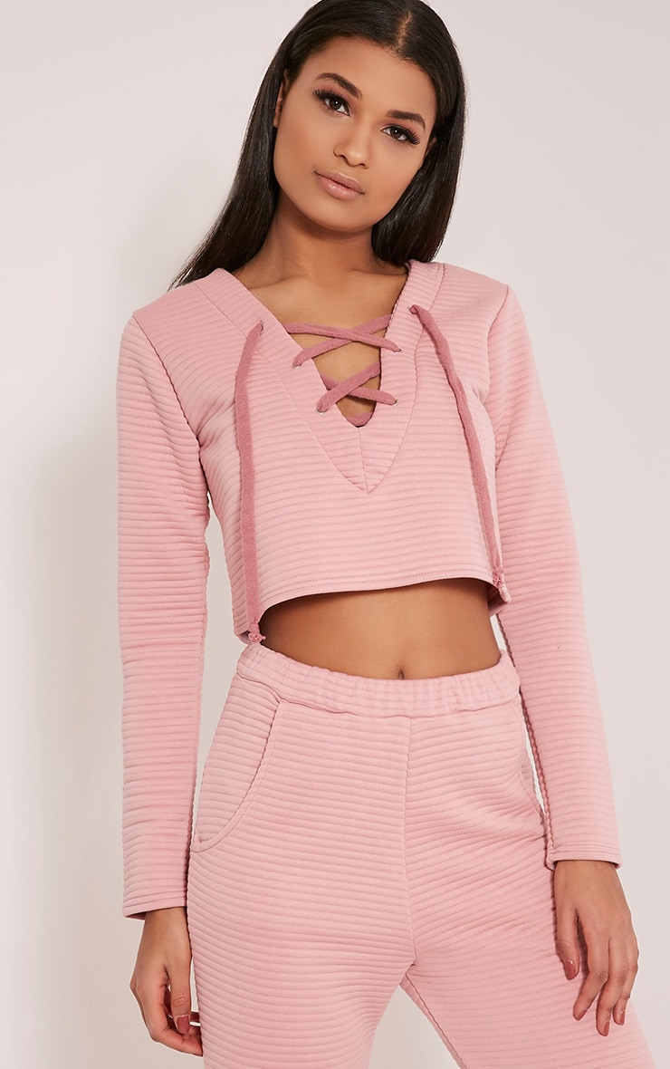 Rowena Blush Premium Ribbed Lace Up Sweatshirt 1