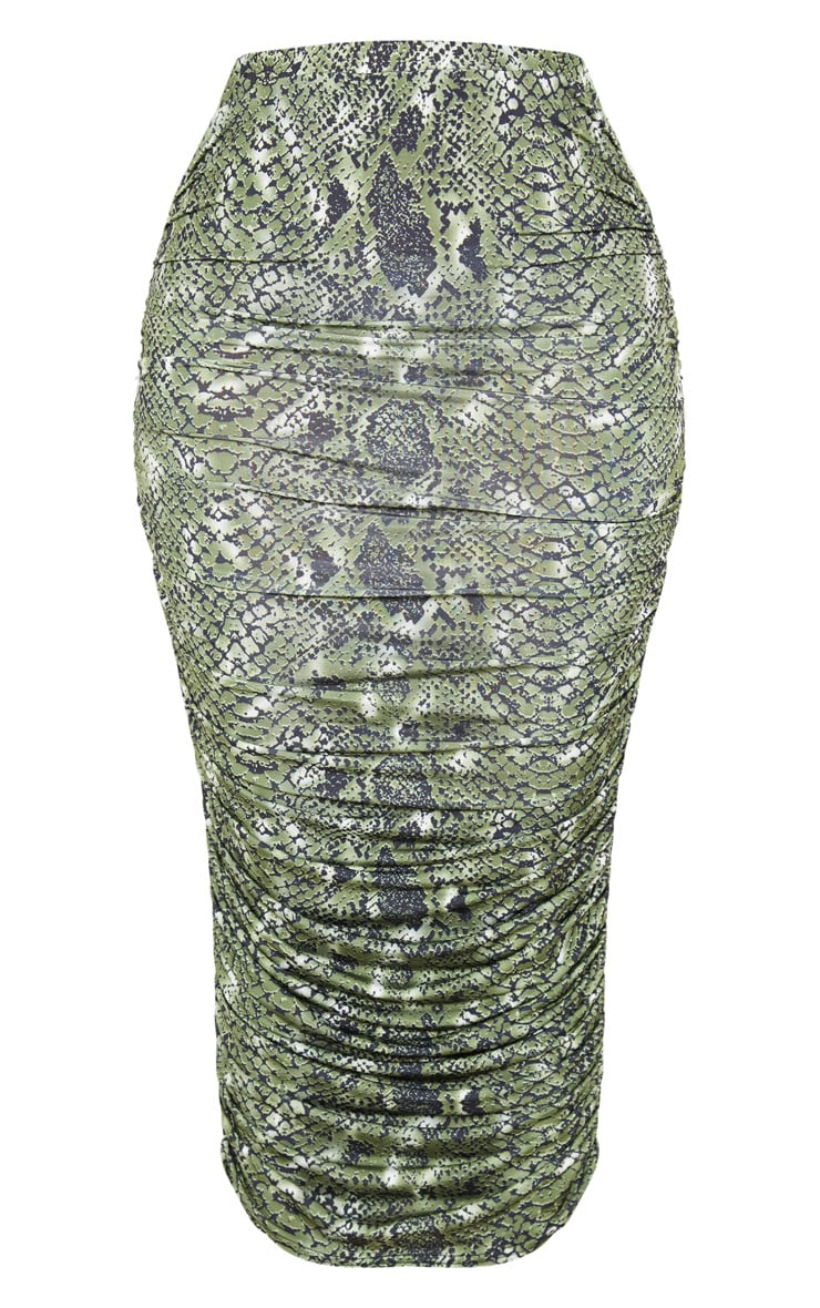 Shape Green Snake Print Ruched Midi Skirt 3