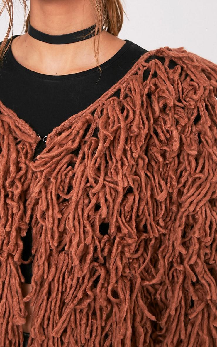 Aslina Cinnamon Shaggy Knit 3/4 Length Cardigan 6