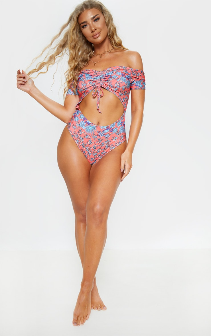 Floral Print Bardot Ruched Front Swimsuit 5