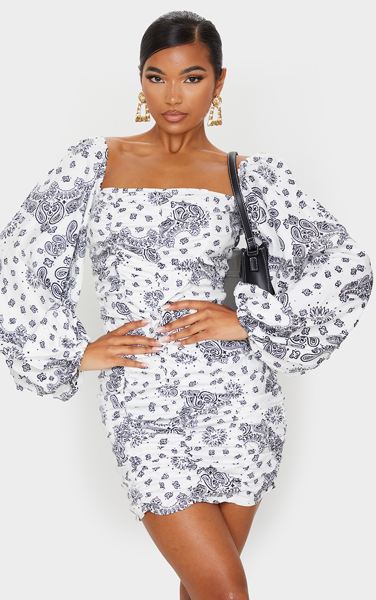White Paisley Printed Balloon Sleeve Ruched Bodycon Dress 1