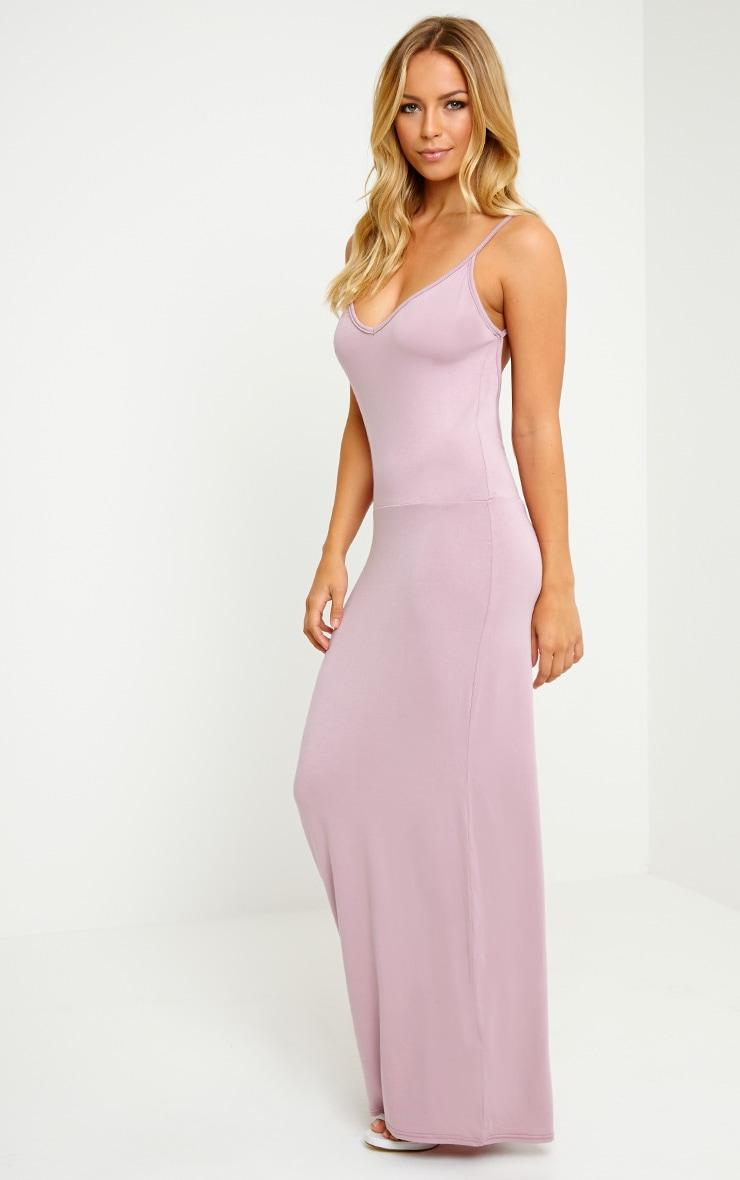 Ellina Mauve Scoop Back Jersey Maxi Dress 3