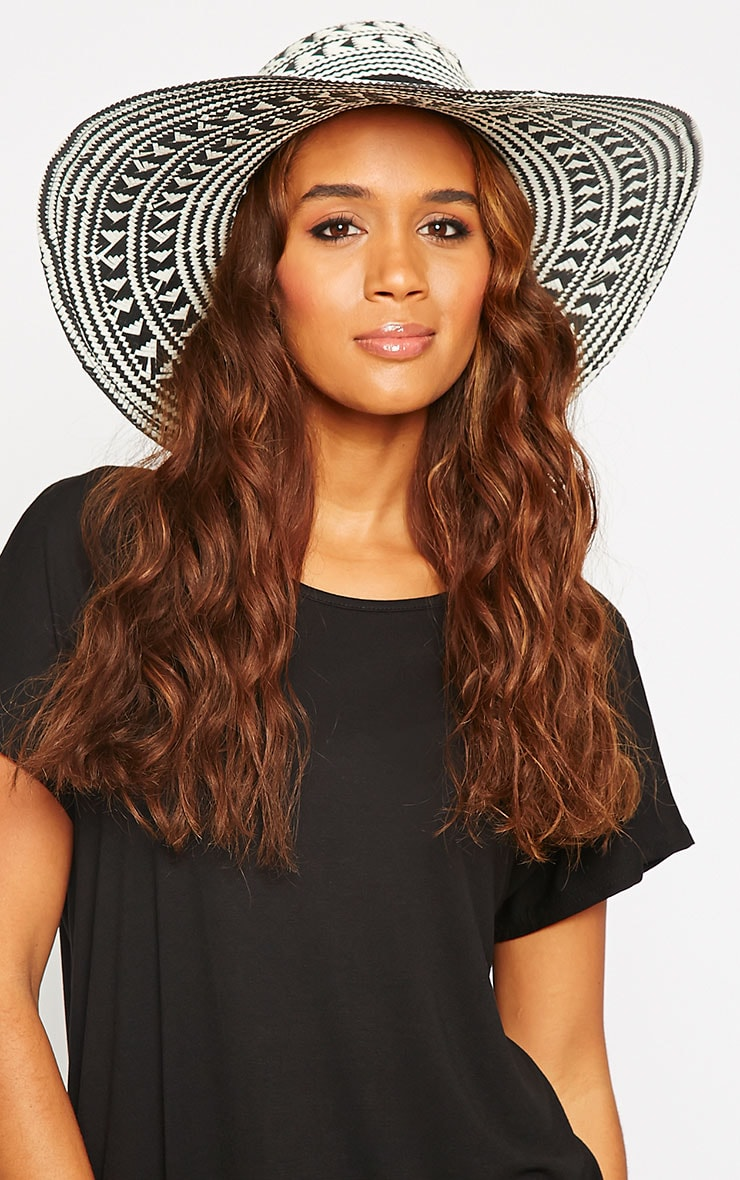 Niven White Aztec Straw Floppy Hat 1
