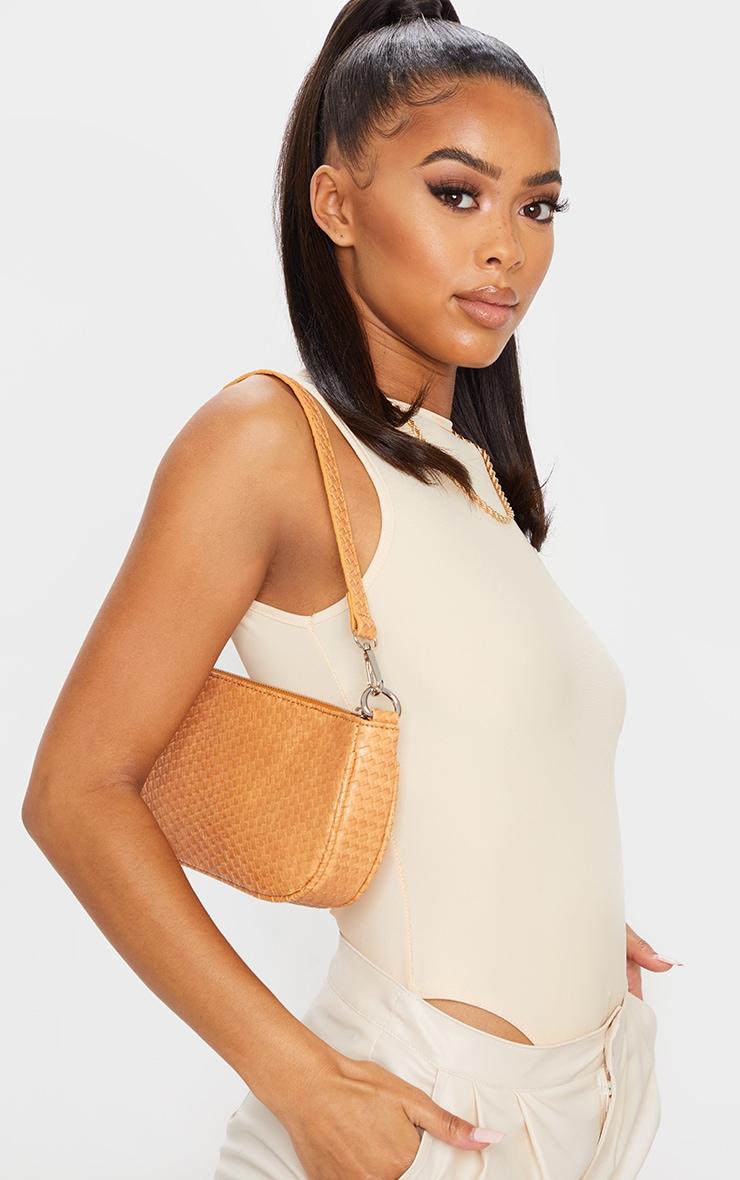 Tan Woven PU Shoulder Bag 1